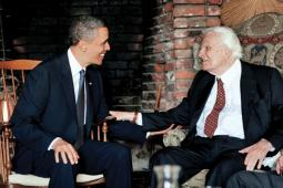Billy Graham chats with President Obama