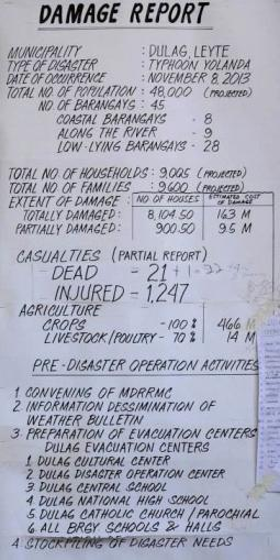 A damage report from Super Typhoon Haiyan compresses a huge disaster into one page of stark statistics. This report is for just one assessment area. (Photo by John Chau / Used by permission)