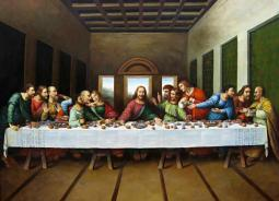 'The Last Supper,' by Leonardo da Vinci (1451-1519); tempera and mixed media on plaster; 4.6m x 8.8m. Convent of Santa Maria delle Grazie, Milan, Italy. What did Jesus really serve his disciples at the first communion service?