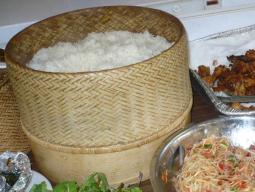 Laotian Mennonite sticky rice with papaya salad and chicken wings.