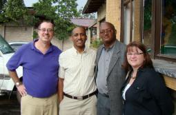 (From left) Doug Roth Amstutz, Tewodros Beyene (MKC Church Chair), Kenna Dula (MKC General Secretary), Wanda Roth Amstutz.