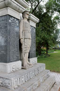 Like the cenotaphs in Winkler and Altona, the Morden, Man., war memorial also contains Mennonite names.