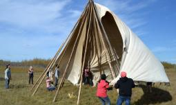 Students from Bethany College, Hepburn, Sask., learn about First Nations culture by helping to put up a tipi at the Beardy's and Okemasis First Nation, Duck Lake, Sask.