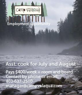 Camp Valaqua asst. cook ad