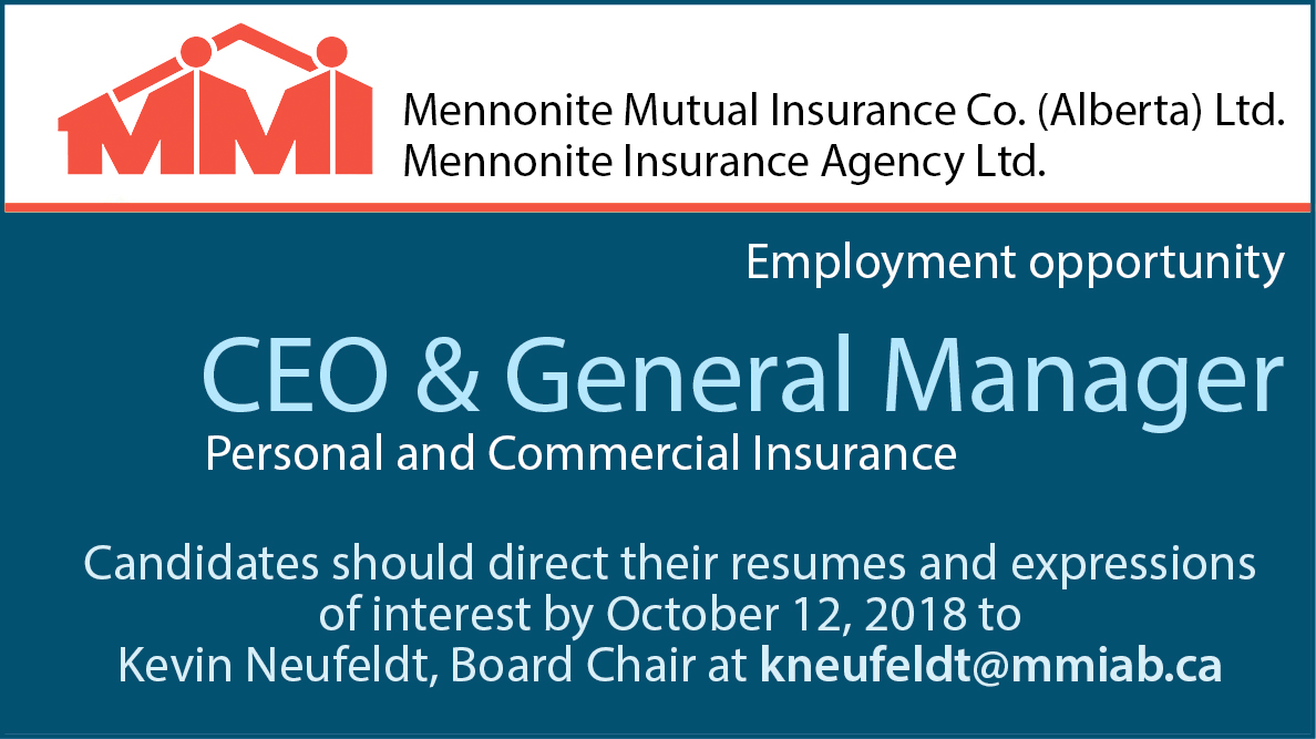 Mennonite Mutual Insurance employment ad (CEO)