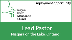 Employment: lead pastor at Niagara United Mennonite Church