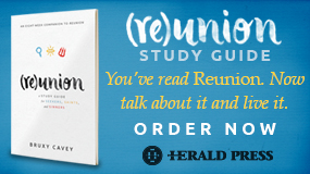 MennoMedia ad for Re-Union studyguide